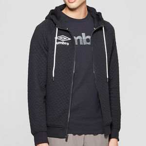 Umbro Men's Black Quilted Fleece Full Zip Hoodie